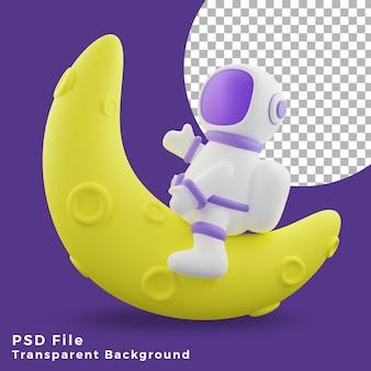 반달 디자인 아이콘 자산 고품질에 앉아 3d 그림 우주 비행사
