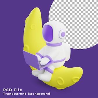 노트북 디자인 아이콘 자산 고품질을 사용하여 반달에 앉아 있는 3d 그림 우주 비행사