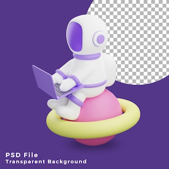 3d illustration astronaut sitting on the planet using laptop design icon assets high quality