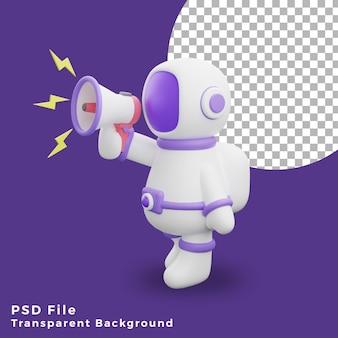 3d illustration astronaut walking using megaphone design icon assets high quality