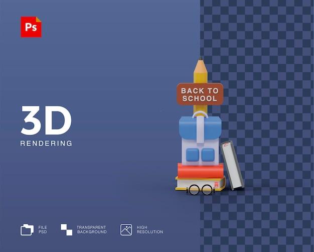 3d illustration back to school