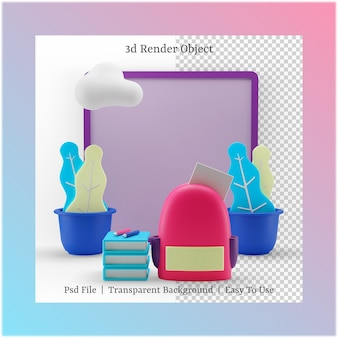 3d illustration of bag and book with back to school concept