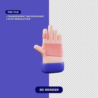 3d illustration of bandaged hand