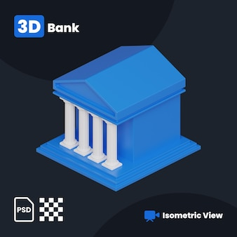 3d illustration of bank building with a isometric view