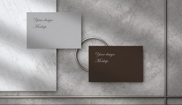 3dイラスト。空白の白い名刺のモックアップ。アイデンティティをブランド化するためのエレガントでモダンなテンプレート。