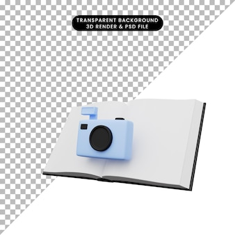 3d illustration of book with camera