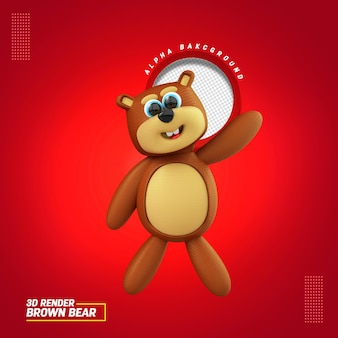 3d illustration for brown bear composition for childrens day