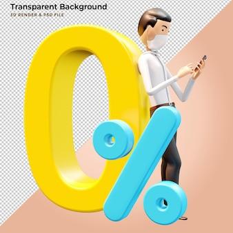 Продвижение делового человека в 3d иллюстрации с нулевым процентом