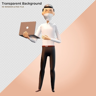 3d иллюстрации деловой человек, стоящий с ноутбуками
