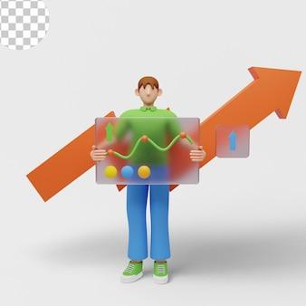 3d иллюстрации. анализ эффективности бизнеса с помощью графиков