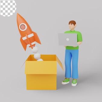 3d illustration. business startup launch concept