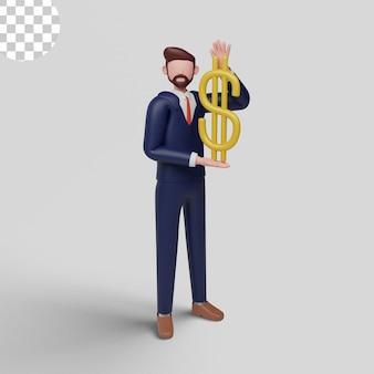 3d иллюстрации. бизнесмен, держащий концепцию доллара Premium Psd