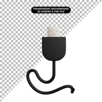 3d illustration of cable charger