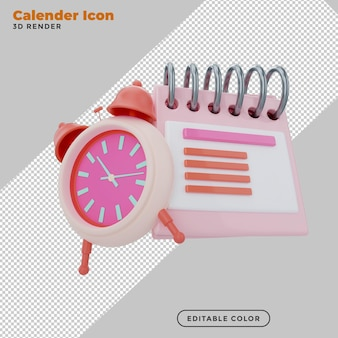 3d иллюстрации символ значок календаря и будильник минимальный дизайн в мультяшном стиле