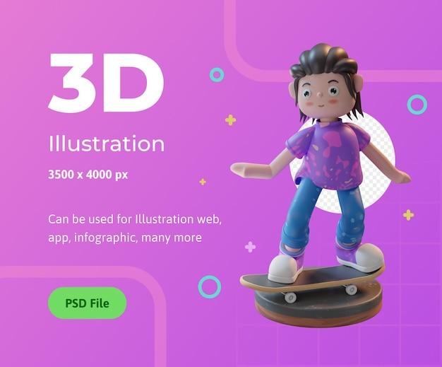 Webアプリのインフォグラフィックなどに使用される表彰台でスケートボードを再生する3dイラストキャラクター