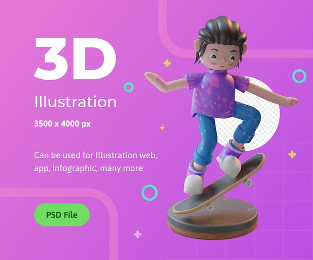 3d illustration character playing skateboard with a podium used for web app infographic etc