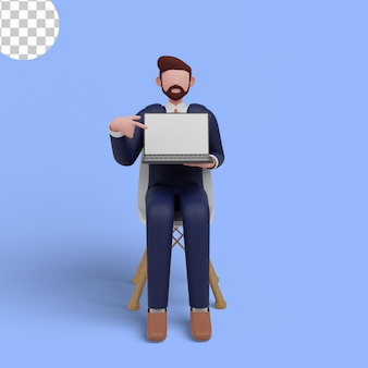 3d illustration of character showing device in front