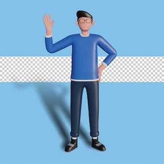 3d illustration of a character waving for a landing page