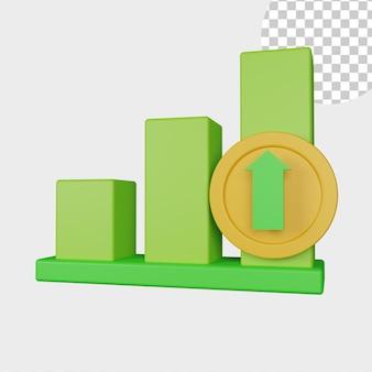 Значок диаграммы 3d иллюстрации с зеленым цветом