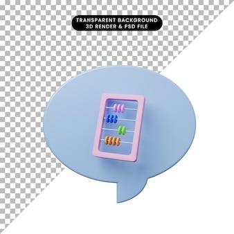 そろばんと3dイラストチャットバブル