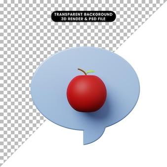 사과와 3d 그림 채팅 거품