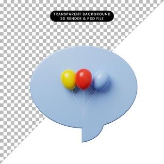バルーンと3dイラストチャットバブル