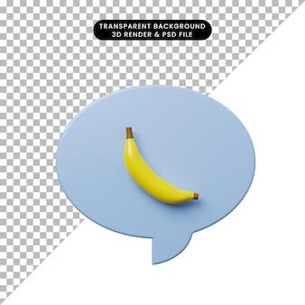 バナナと3dイラストチャットバブル