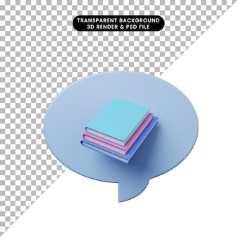 3d иллюстрации чат пузырь с книгой