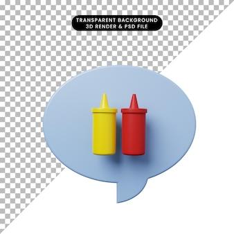 ボトルケチャップと3dイラストチャットバブル