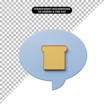 パンと3dイラストチャットバブル