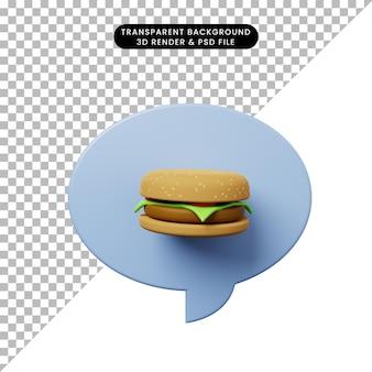 ハンバーガーと3dイラストチャットバブル