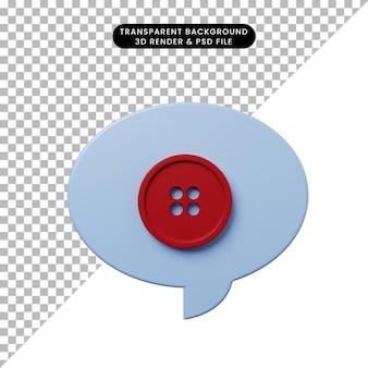 ボタン付きの3dイラストチャットバブル