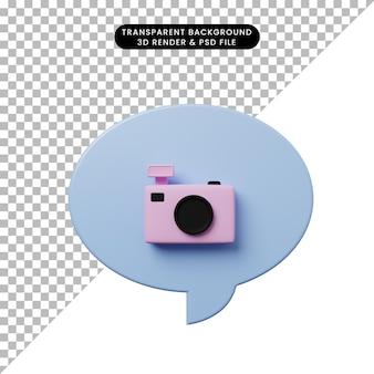 カメラと3dイラストチャットバブル