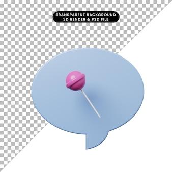 사탕 츄파 찹과 3d 그림 채팅 거품
