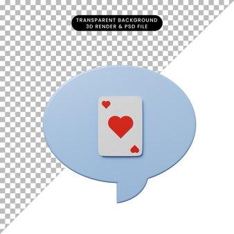 カードと3dイラストチャットバブル