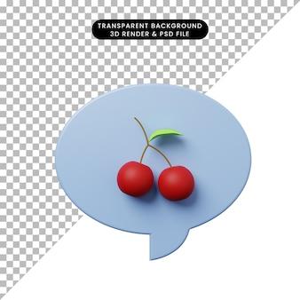 체리와 3d 그림 채팅 거품