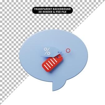 3d иллюстрации чат пузырь со значком скидки