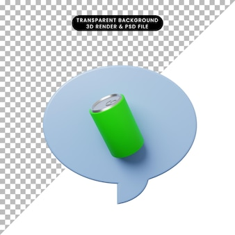 음료수와 함께 3d 그림 채팅 거품