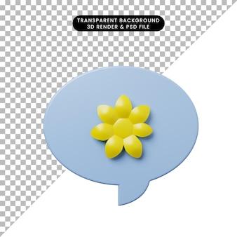 花と3dイラストチャットバブル