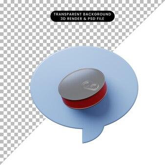 食品缶と3dイラストチャットバブル