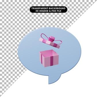 3d иллюстрации чат пузырь с открытой подарочной коробкой