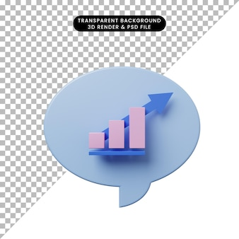 3d illustration chat bubble with graph data