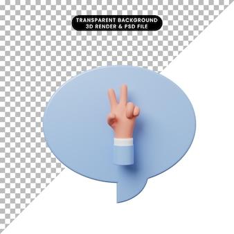 手の平和のサインと3dイラストチャットバブル
