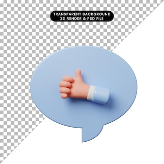 손 엄지손가락으로 3d 그림 채팅 거품
