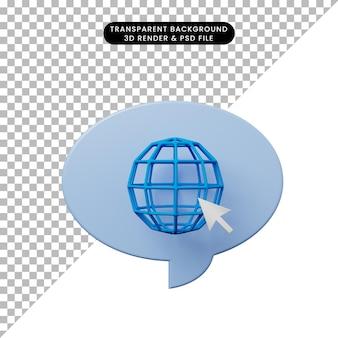 インターネットアイコンと3dイラストチャットバブル