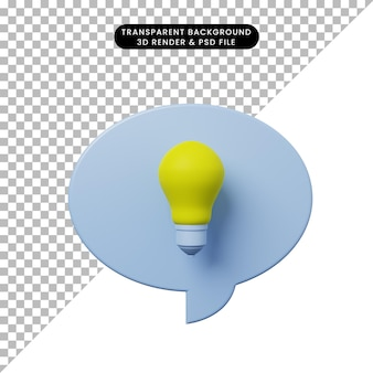 3d иллюстрации чат пузырь с лампочкой