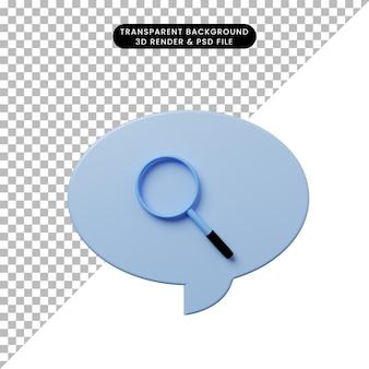 3d иллюстрации чат пузырь с лупой