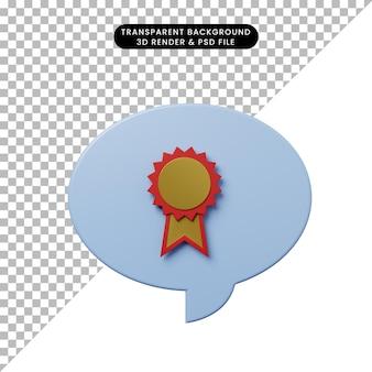 3d иллюстрации чат пузырь с медалью