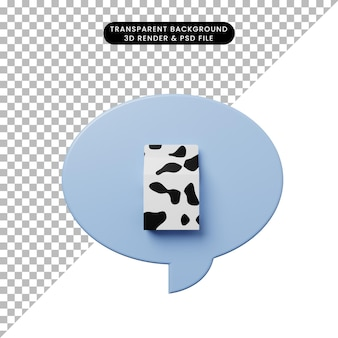 ミルクと3dイラストチャットバブル