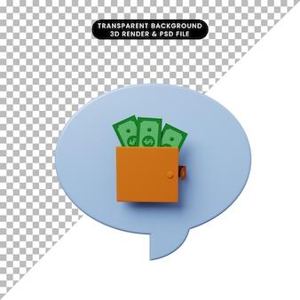 지갑에 돈이 있는 3d 그림 채팅 거품